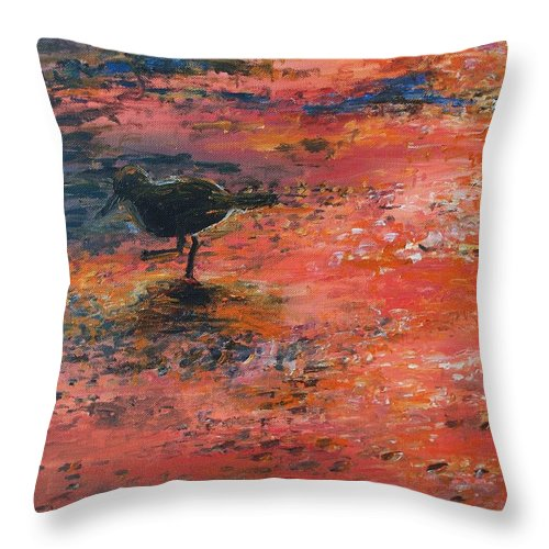 Beach Throw Pillow featuring the painting Sandpiper Cape May by Eric Schiabor