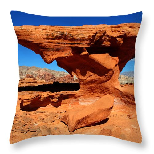 Beauty Of Sandstone Throw Pillow featuring the photograph Sandstone Landscape by Bob Christopher