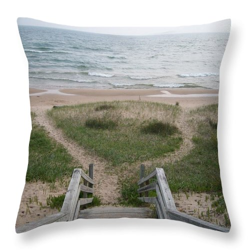 Sand Throw Pillow featuring the photograph Sandy Beach On Lake Michigan by Joshua Thompson