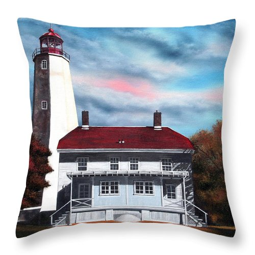 Lighthouse Throw Pillow featuring the painting Sandy Hook Lighthouse by Daniel Carvalho