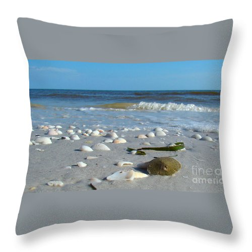 Sand Dollar Throw Pillow featuring the photograph Sanibel Sand Dollar 2 by Nancy L Marshall