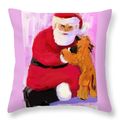 Santa Claus Throw Pillow featuring the digital art Santa Baby by Terry Chacon