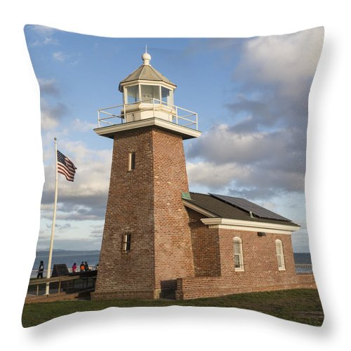 Lighthouse Throw Pillow featuring the photograph Santa Cruz Surfing Museum Two by Bruce Frye