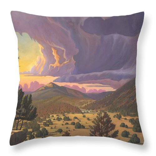 Santa Fe Throw Pillow featuring the painting Santa Fe Baldy by Art West