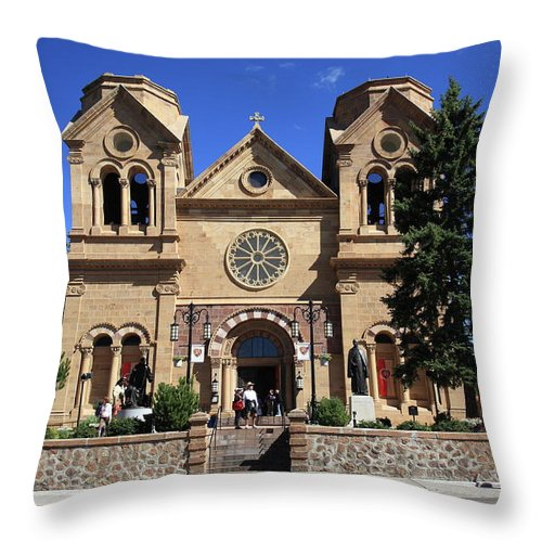 Fine Throw Pillow featuring the photograph Santa Fe - Basilica Of St. Francis Of Assisi by Frank Romeo