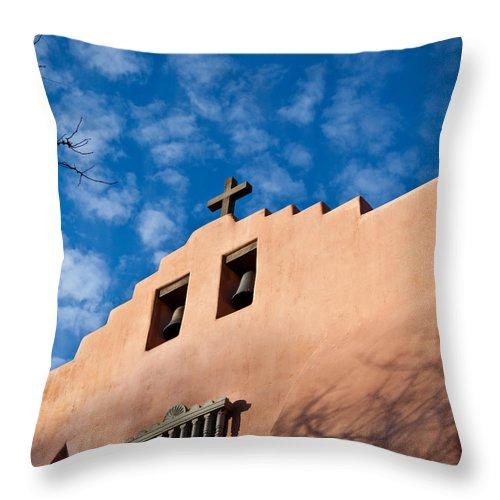 Santa Fe Throw Pillow featuring the photograph Santa Fe Church by Art Block Collections