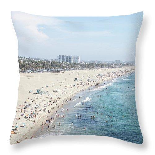 Crowd Throw Pillow featuring the photograph Santa Monica Beach by Tuan Tran