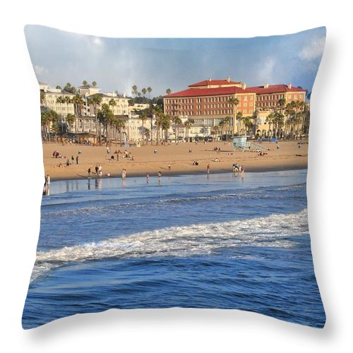 Landscapes Throw Pillow featuring the photograph Santa Monica Beach View by Lynn Bauer