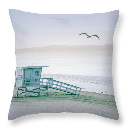 Santa Monica Throw Pillow featuring the photograph Santa Monica Beach by Wendy Gunderson