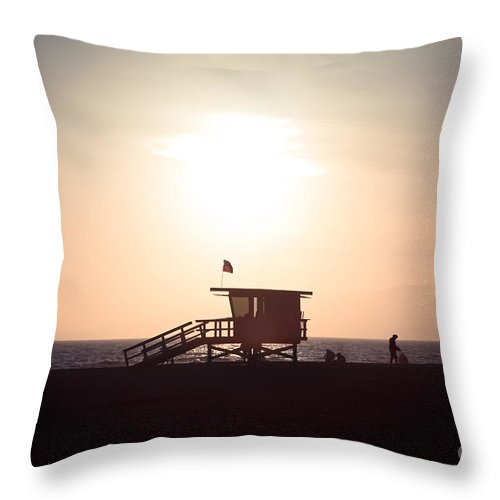 America Throw Pillow featuring the photograph Santa Monica Lifeguard Stand Sunset Photo by Paul Velgos