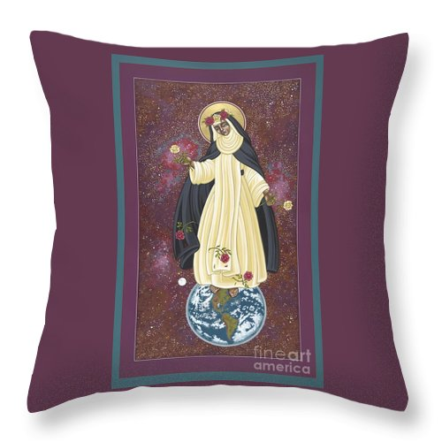 Santa Rosa Of The Cosmos Throw Pillow featuring the painting Santa Rosa Patroness Of The Americas 166 by William Hart McNichols