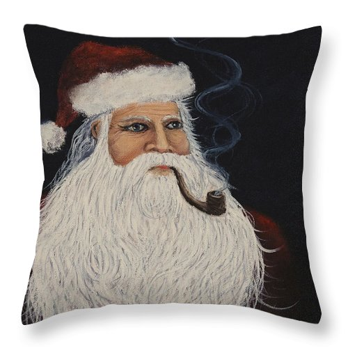 Santa Claus Throw Pillow featuring the painting Santa With His Pipe by Darice Machel McGuire
