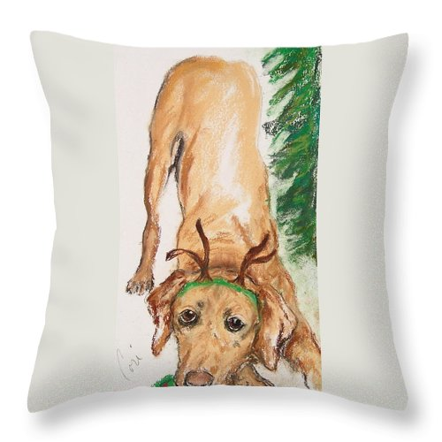Labrador Throw Pillow featuring the drawing Santa's Helper by Cori Solomon