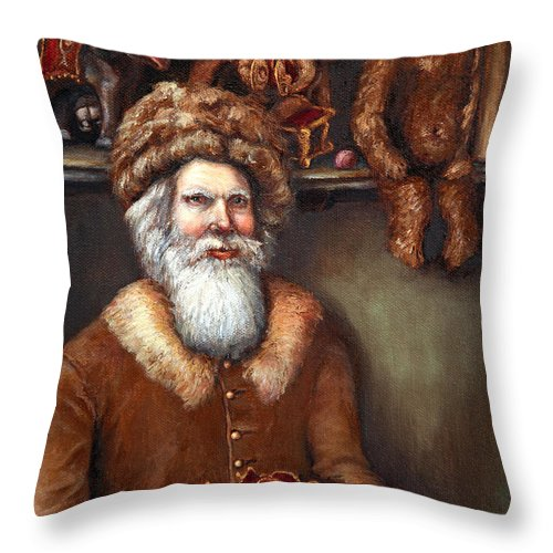 Holiday Art Throw Pillow featuring the painting Santas Special Toys by Portraits By NC