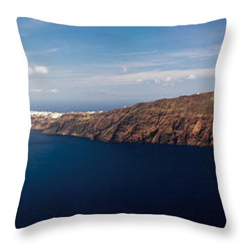 Greece Throw Pillow featuring the photograph Santorini Panorama by Gary Eason