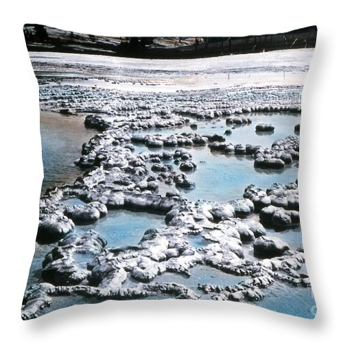 History Throw Pillow featuring the photograph Sapphire Pool Yellowstone National Park by NPS Photo JP Clum