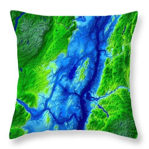 Saratoga Throw Pillow featuring the digital art Saratoga Map Art by Paul Hein