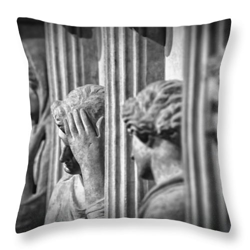Archaeology Throw Pillow featuring the photograph Sarcophagus Of The Crying Women II by Zapista