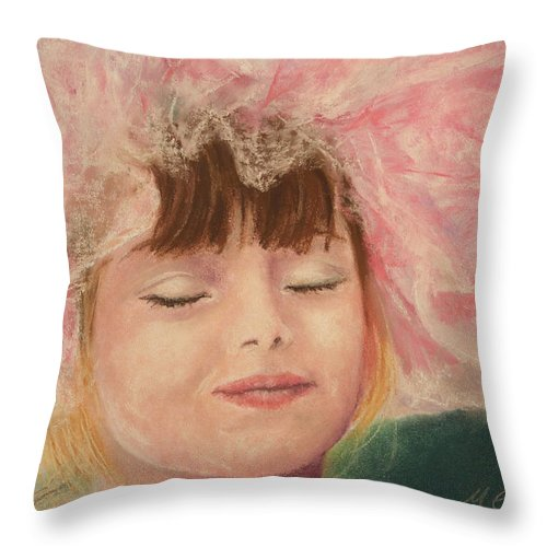Sassy Throw Pillow featuring the pastel Sassy In Tulle by Marna Edwards Flavell