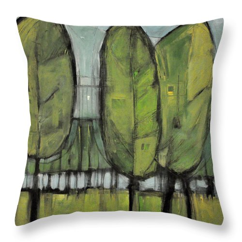 Trees Throw Pillow featuring the painting Saturday In The Park I Think It Was The Fourth Of July by Tim Nyberg