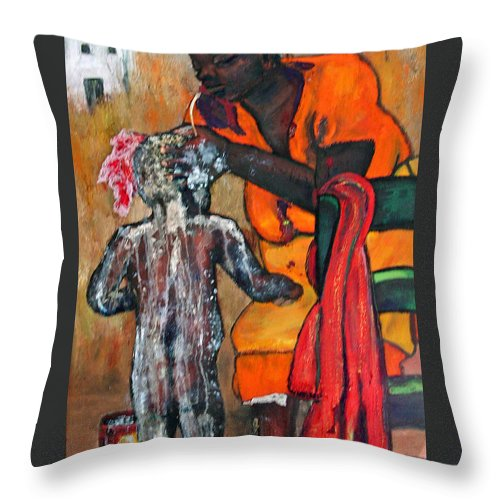 Mom Bathing Boy Throw Pillow featuring the painting Saturday Night Bath by Peggy Blood