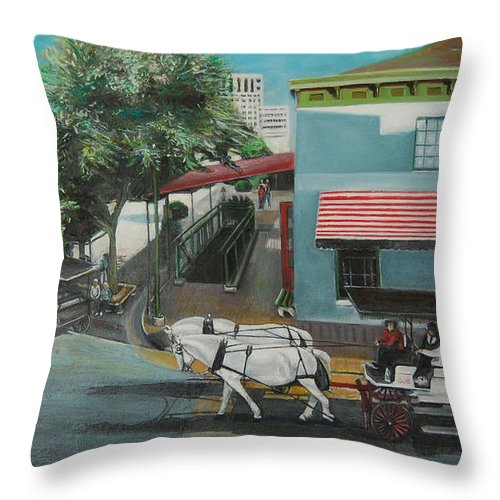 Throw Pillow featuring the painting Savannah City Market by Jude Darrien
