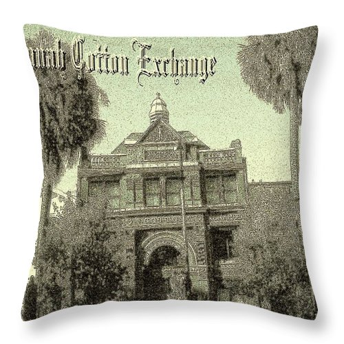 Savannah Throw Pillow featuring the drawing Old Savannah Cotton Exchange by Peter Potter