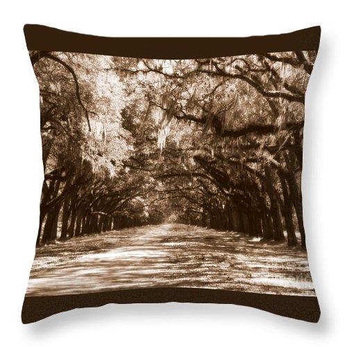 Savannah Throw Pillow featuring the photograph Savannah Sepia - The Old South by Carol Groenen