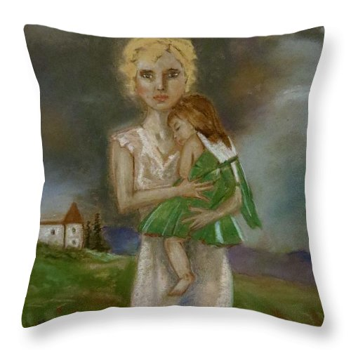 Female With Child Throw Pillow featuring the pastel Saving Peggy by C Pichura