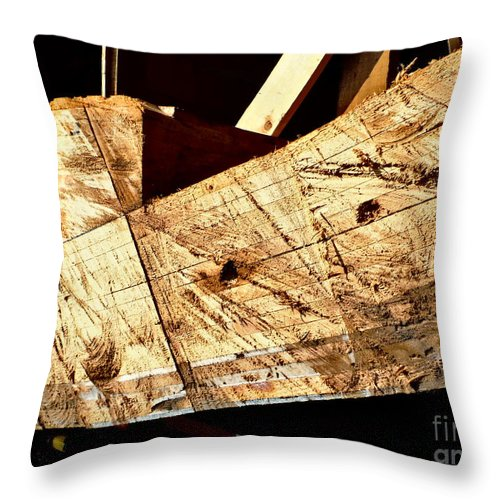 Saw Marks On The Santa Maria Throw Pillow featuring the photograph Saw Tracks On The Santa Maria by Paddy Shaffer