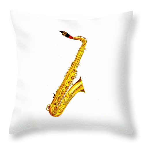 Saxophone Throw Pillow featuring the painting Saxophone by Michael Vigliotti