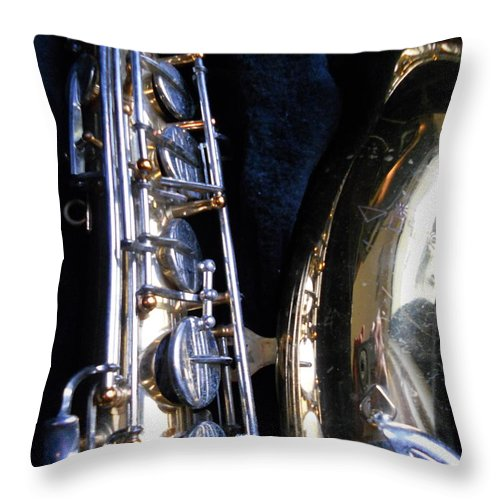 Brass Throw Pillow featuring the painting Saxophone View 4 by Dotti Hannum