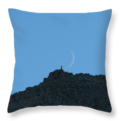 Rock Outcrop Throw Pillow featuring the photograph Scapegoat Rocks With Moon by Pam Little