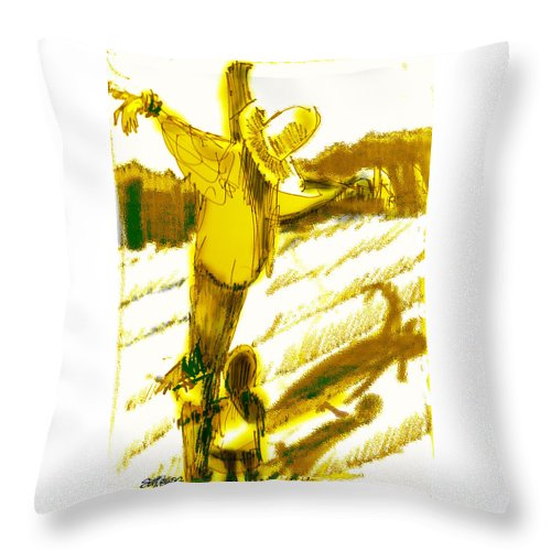 Scarecrow Babysitter Throw Pillow featuring the digital art Scarecrow Babysitter by Seth Weaver