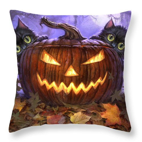 Cat Artwork. Cats Throw Pillow featuring the painting Scaredy Cats by Jeff Haynie