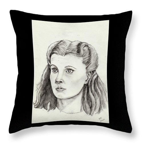 Portrait Throw Pillow featuring the drawing Scarlet by Kaye Gribble