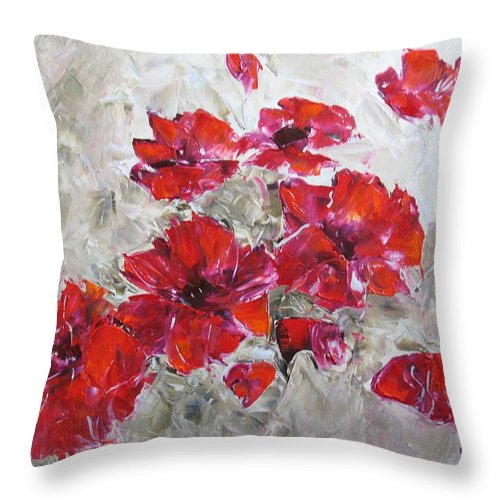 Flowers Throw Pillow featuring the painting Scarlet Poppies by Galina Khlupina