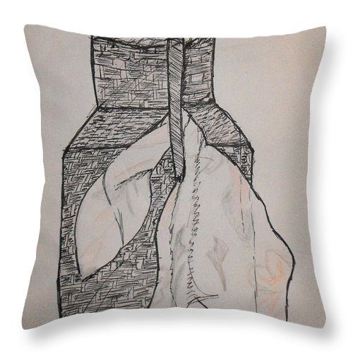 Wicker Throw Pillow featuring the drawing Scarved Wicker Jar by Catherine Ratliff