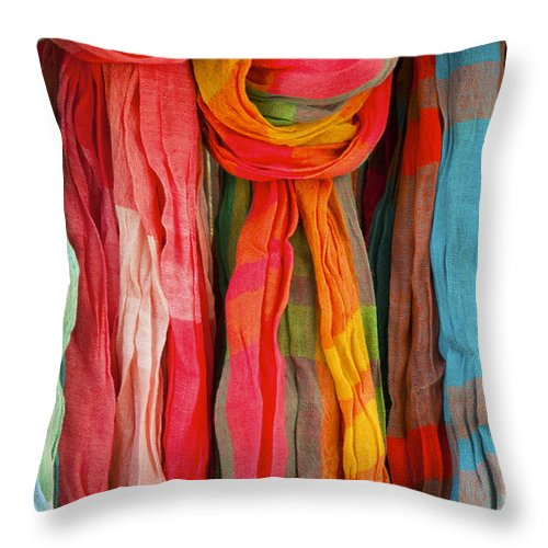 Market Day Laurmarin France Markets Textile Textiles Silk Silks Wool Scarf Scarves Provence Throw Pillow featuring the photograph Scarves by Bob Phillips
