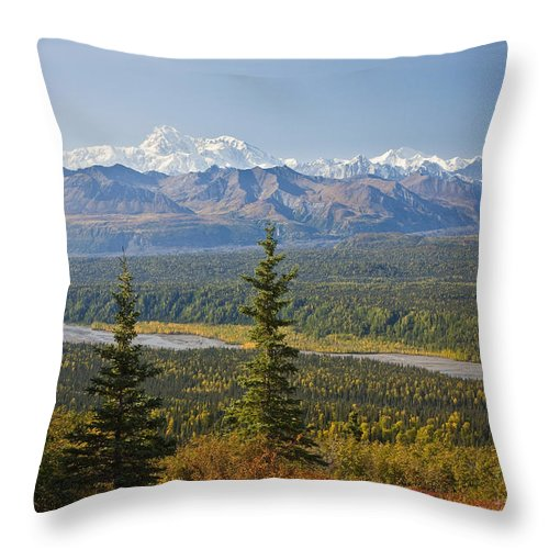 Day Throw Pillow featuring the photograph Scenic View Of Alaska Range And by Jeff Schultz