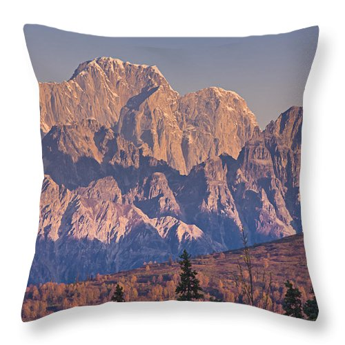 Dawn Throw Pillow featuring the photograph Scenic View Of Sunrise On Mooses Tooth by Kevin Smith