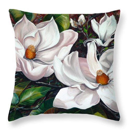 Magnolia Painting Flower Painting Botanical Painting Floral Painting Botanical Bloom Magnolia Flower White Flower Greeting Card Painting Throw Pillow featuring the painting Scent Of The South. by Karin Dawn Kelshall- Best