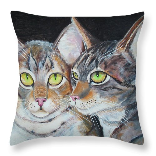 Cats Throw Pillow featuring the painting Scheming Cats by Thomas J Herring