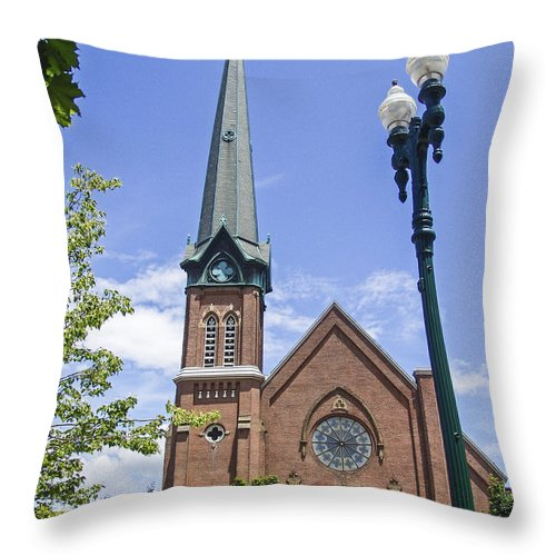 Church Throw Pillow featuring the photograph Schenectady Bell Tower by Eric Swan