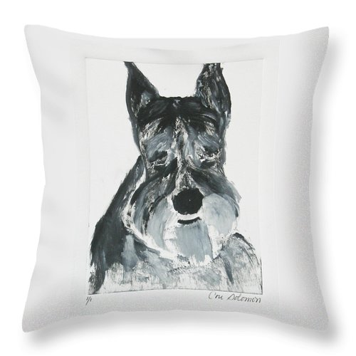 Dog Throw Pillow featuring the mixed media Schnauzing Around by Cori Solomon