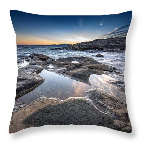 Schoodic Throw Pillow featuring the photograph Schoodic Reflections by Rick Berk