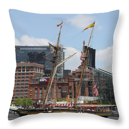 Harbor Throw Pillow featuring the photograph Schooner Arriving At Baltimore Inner Harbor by Christiane Schulze Art And Photography