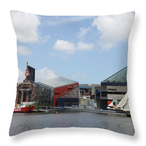 Sail Ship Throw Pillow featuring the photograph Schooner Comming Back To Baltimore Harbor by Christiane Schulze Art And Photography