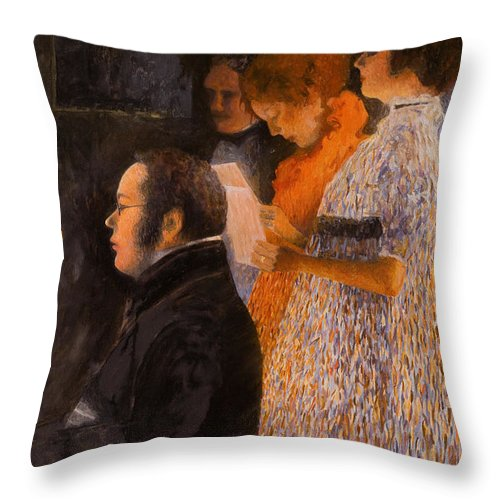 Schubert Throw Pillow featuring the painting Schubert At The Piano - After Klimt by Don Perino
