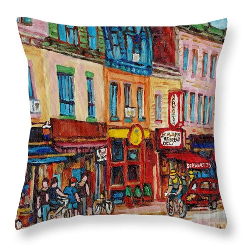 Schwartz Deli Throw Pillow featuring the painting Schwartzs Deli And Warshaw Fruit Store Montreal Landmarks On St Lawrence Street by Carole Spandau